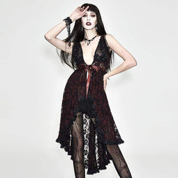EVA LADY Women's Red Lace Goth Dress