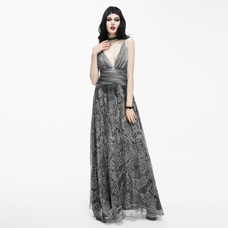 Women's tunning Gothic Embroidered Gown-Punk Design