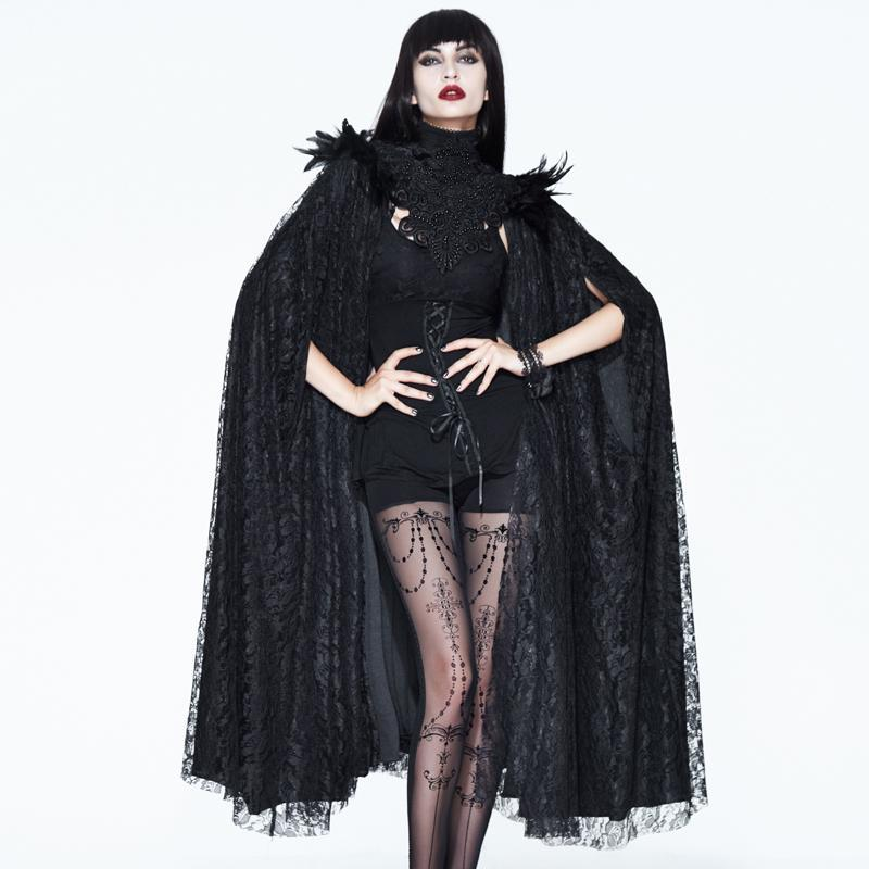 Women's Vintage Goth Lace Cape-Punk Design