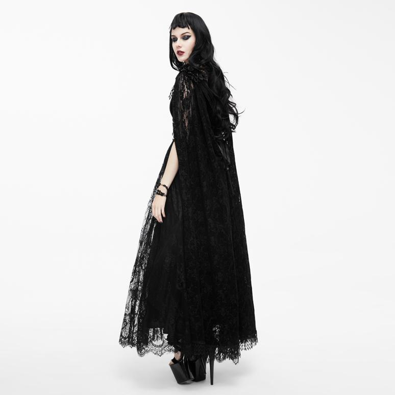 Women's Vintage Goth Lace Dress With Cape-Punk Design