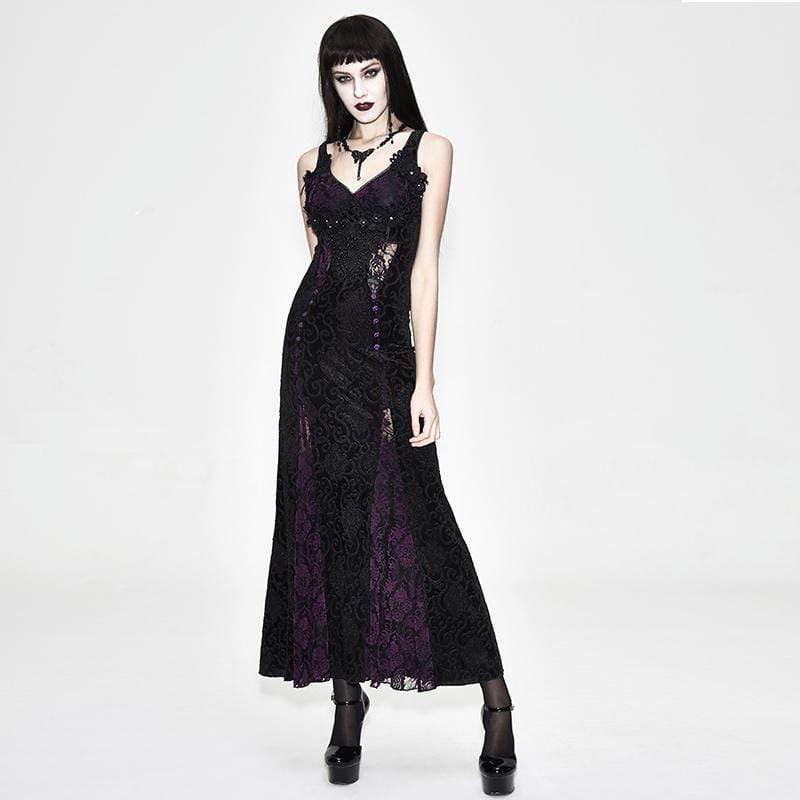 EVA LADY Women's Violet & Lace Goth Full Length Gown