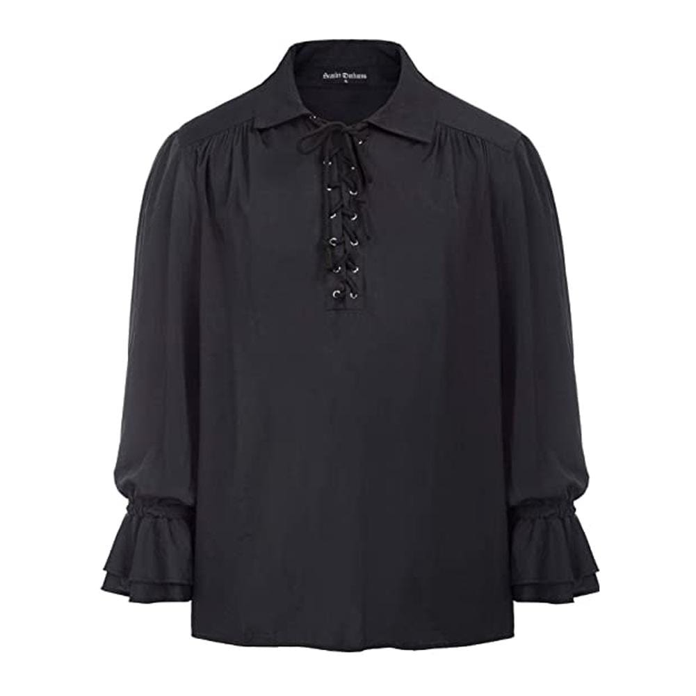 Kobine Men's Gothic Lace-up Loose Shirts