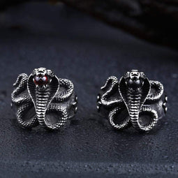 Kobine Men's Punk Cobra Bead Rings