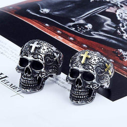 Kobine Men's Punk Cross Skull Rings