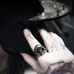 Kobine Men's Punk Death Skull Rings
