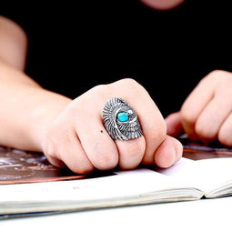 Kobine Men's Punk Eagle Turquoise Rings