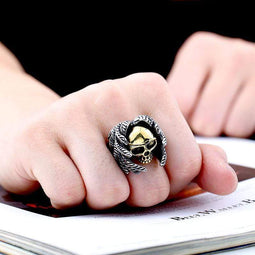 Kobine Men's Punk Feather Skulls Rings
