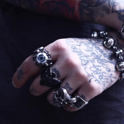 Kobine Men's Punk Ghost Rider Eyeball Skull Rings