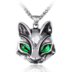 Kobine Men's Punk Green/Blue Eye Fox Necklaces