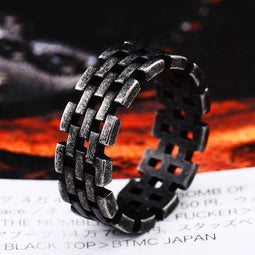 Kobine Men's Punk Pierced Chains Rings