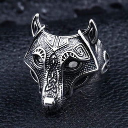 Kobine Men's Punk Pirate Wolf Rings
