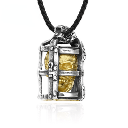 Collier Punk Skull Cage pour homme Kobine