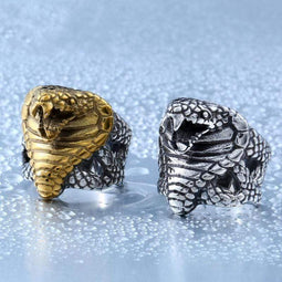 Kobine Men's Punk Snake's Head Rings