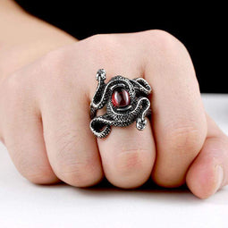 Kobine Men's Punk Snakes Bead Rings