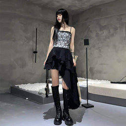 Top corto in pizzo Goth da donna Kobine