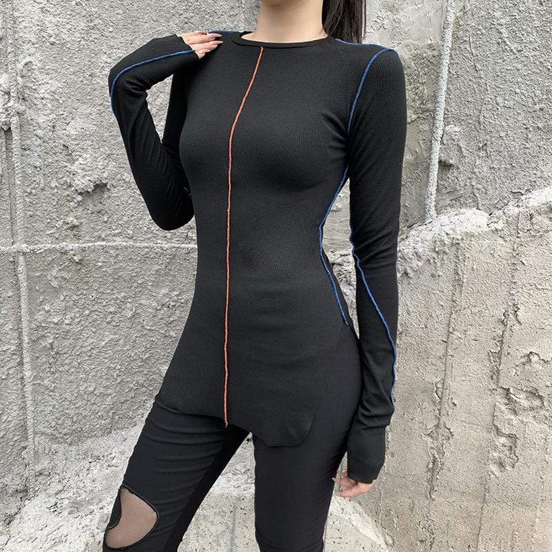 Kobine Damen Gothic Autunm Lines Fitted Long T-Shirts