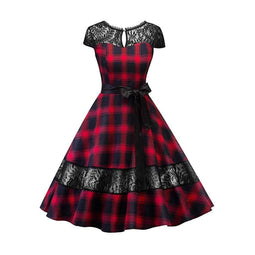 Kobine Damen Gothic Backless Lace Plaid Circle Kleider