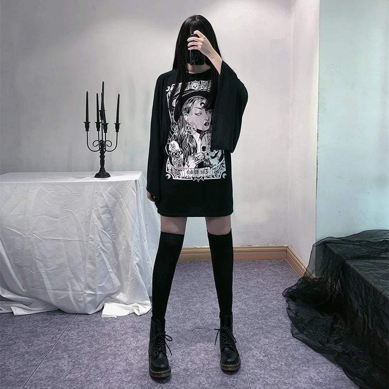 KOBINE Women's Gothic Batwing Sleeved Witch T-shirts