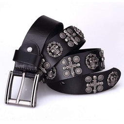 Kobine Women's Gothic Belts With Rivets Of Skulls And Crosses