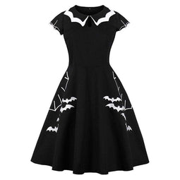 KOBINE Women's Gothic Bet Embroidery Turn-down Collar Circle Dresses