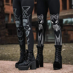 KOBINE Gothic Cats Skulls Pattern Leggings für Damen