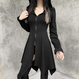 Kobine Women's Gothic Front Zip Dresses With Hood
