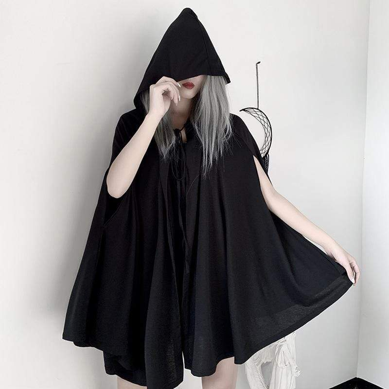 Kobine Femmes Gothic Halloween Batwing Hoodied Capes Casual