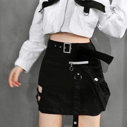 Kobine Women's Gothic Hollow Out Package Hip Mini Skirts With Belt