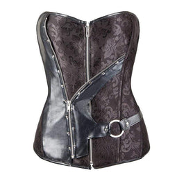 Kobine Women's Gothic Jacquard Splicing Faux Leather Zip Overbust Corsets