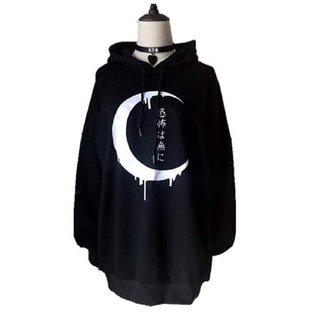 KOBINE Women's Gothic Japanese Printed Casual Hoodies Black