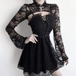 KOBINE Frauen Gothic Long Sleeved Sheer Floral Lace Capes