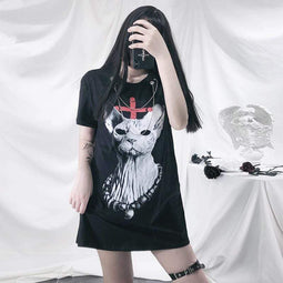 Kobine Women's Gothic Loosed Cat Printed T-shirts With Chain