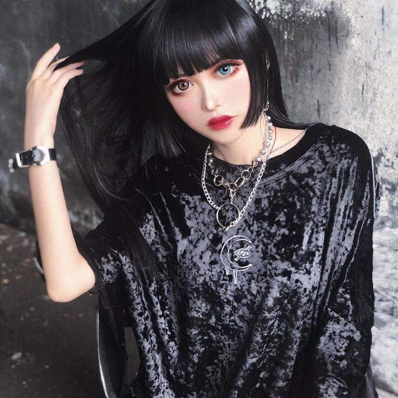 variousstyles select for best new collection Women's Gothic Moon and Eye Embroidered Velvet Tops