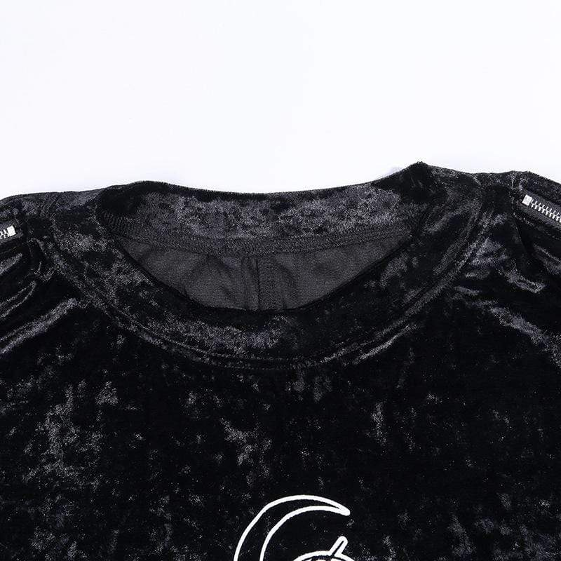 Gothic Crescent Moon Embroidered Women Blouse Shirt Tops Punk Pleated Mini Skirt