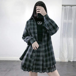KOBINE Women's Gothic Plaid Casual Shirts Short Coats