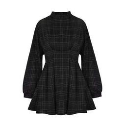 Kobine Robes Gothic Plaid Taille Haute Femme