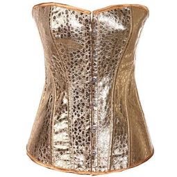 Kobine Women's Gothic Pure Color Overbust Corsets Golden