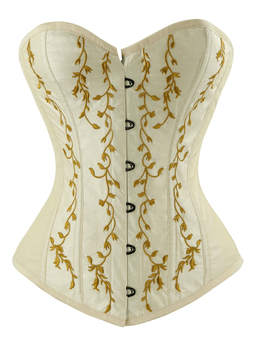 Kobine Women's Gothic Vintage Floral Renaissance Steel Boned Embroidery Overbust Corset Top