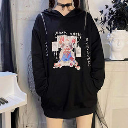 KOBINE Women's Gothic Zippers Japanese Cartoon Rabbit Printed Hoodies