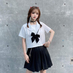 KOBINE Kawaii JK Uniform Bowknot Tops für Damen