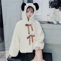 KOBINE Femmes Lolita Hooded Lace-up Furry Jackets With Bear Ears
