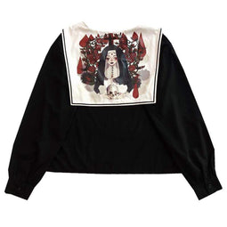 KOBINE Women's Nun Skull Printed Japanese Sailor Tops