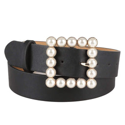 Kobine Women's Pearls Square Buckle Faux Leather Belts