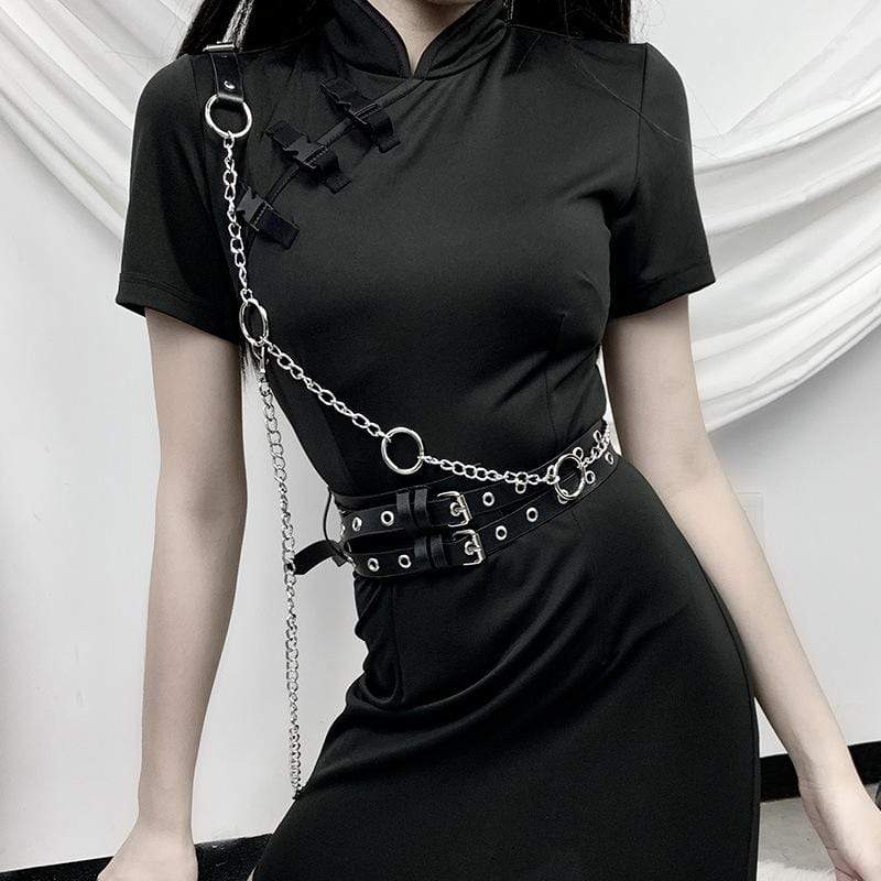 KOBINE Women's Punk Shoulder Strape Chains Faux Leather Body Harnesses
