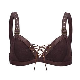 Kobine Women's Punk Strappy Faux Leather Bra Tops