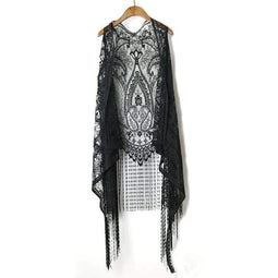 KOBINE Women's Sheer Flare Lace Fringes Crochet Black Vests