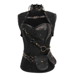 Kobine Women's Steampunk Faux Leather High Collar Corsets With Waist bag