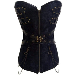 Kobine Women's Steampunk Front Zip Overbust Corsets With T-back