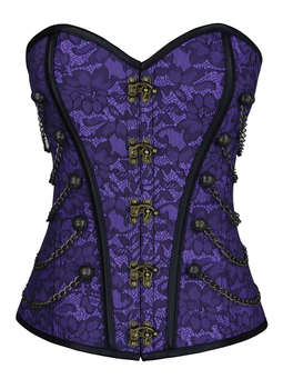 Kobine Women's Steampunk Gothic Jacquard Brocade Overbust Corset with Chains
