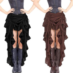 Kobine Women's Steampunk Pure Color Ruffled Skirts